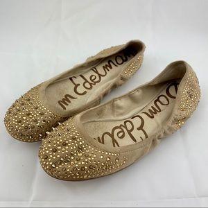 Sam Edelman Ballet Flats Spikes Rhinestones Tan